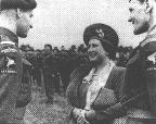 Brigadier Hill presents RSM Clark to H.M. Queen Elizabeth